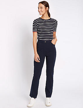 Stretch Straight Leg Trousers, NAVY, catlanding