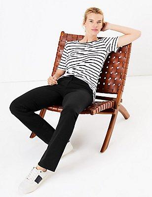 Pantalon coupe droite en coton extensible, NOIR, catlanding