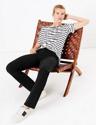 Cotton Rich Straight Leg Trousers, BLACK, catlanding