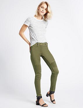 Cotton Rich Biker Skinny Leg Trousers, KHAKI, catlanding