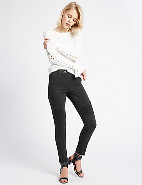 Cotton Rich Biker Skinny Leg Trousers, BLACK, catlanding