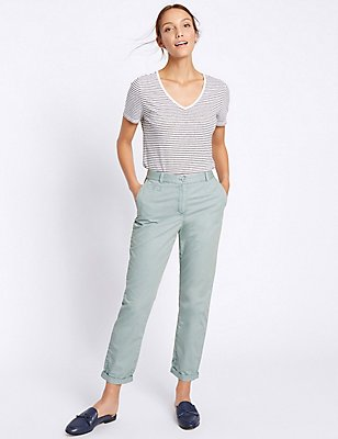 Pure Cotton Turn Up Standard Chinos, DUCK EGG, catlanding