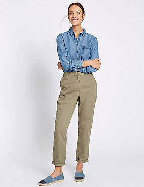 Pure Cotton Turn Up Standard Chinos, KHAKI, catlanding