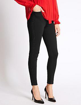 Bling Skinny Leg Jeans , BLACK, catlanding