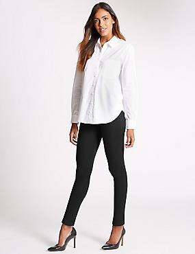 Figuurcorrigerende jeans met middelhoge taille en smalle pijpen, ZWART, catlanding