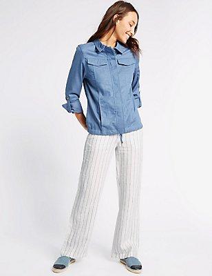 Pure Linen Striped Wide Leg Trousers, NAVY STRIPE, catlanding