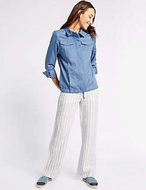 Pure Linen Striped Wide Leg Trousers, NAVY STRIPE, catlanding