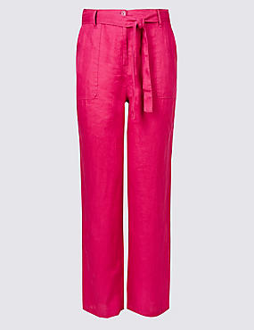 PLUS Pure Linen Wide Leg Trousers, BERRY, catlanding