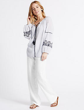 PETITE– Pantalon coupe large 100% lin, BLANC, catlanding