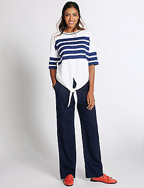 Pure Linen Wide Leg Trousers, NAVY, catlanding