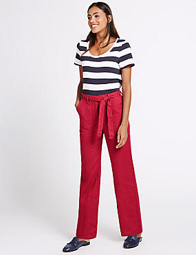 Pure Linen Wide Leg Trousers, BERRY, catlanding
