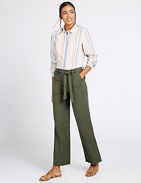 Pantalón 100% lino de pata ancha, CAQUI, catlanding
