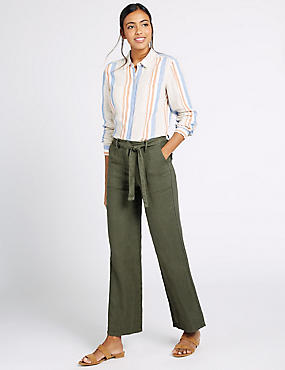 Pure Linen Wide Leg Trousers, KHAKI, catlanding