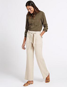 Pantalón 100% lino de pata ancha, LINO, catlanding