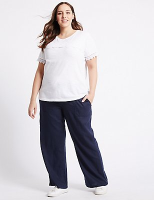 PLUS Linen Rich Wide Leg Trousers, NAVY, catlanding