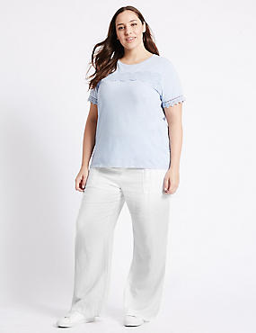 PLUS Linen Rich Wide Leg Trousers, WHITE, catlanding