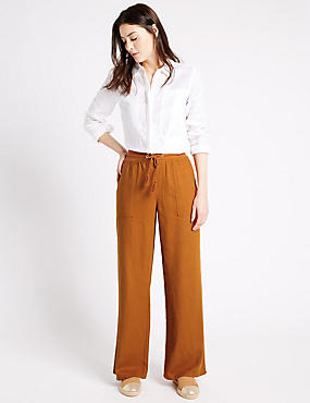 Linen Rich Beach Wide Leg Trousers, RUST, catlanding
