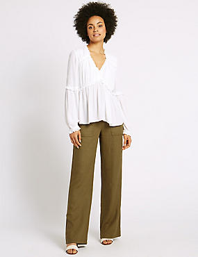 Linen Rich Beach Wide Leg Trousers, CHARTREUSE, catlanding