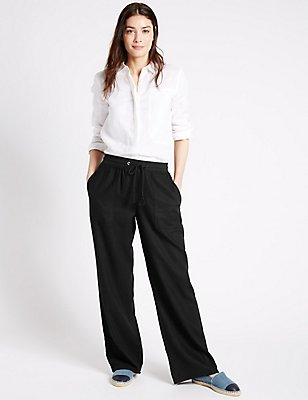 Linen Rich Beach Wide Leg Trousers, BLACK, catlanding