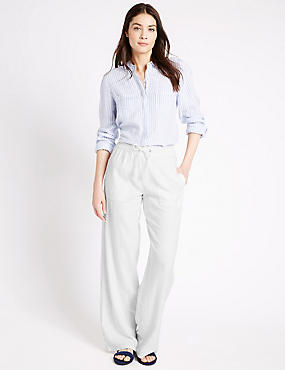 Linen Rich Beach Wide Leg Trousers, WHITE, catlanding