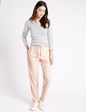 Linen Rich Drawstring Tapered Leg Trousers, PINK, catlanding