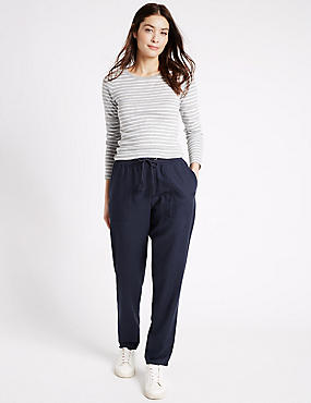Linen Rich Drawstring Tapered Leg Trousers, NAVY, catlanding