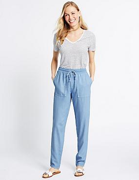 Linen Rich Drawstring Tapered Leg Trousers, CHAMBRAY, catlanding