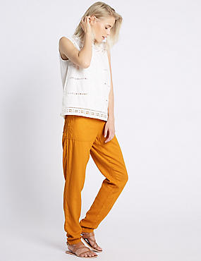 Linen Rich Drawstring Tapered Leg Trousers, OCHRE, catlanding