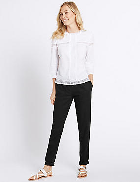 Linen Rich Drawstring Tapered Leg Trousers, BLACK, catlanding