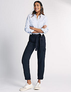 Pure Linen Straight Leg Trousers, NAVY, catlanding
