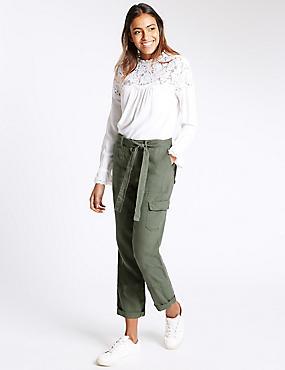 Pure Linen Straight Leg Trousers, KHAKI, catlanding