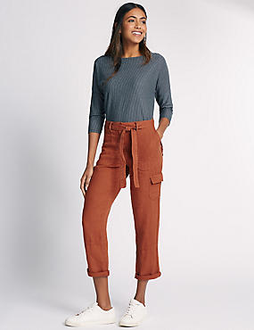 Pure Linen Straight Leg Trousers, RUST, catlanding