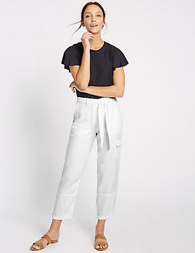 Pure Linen Straight Leg Trousers, WHITE, catlanding