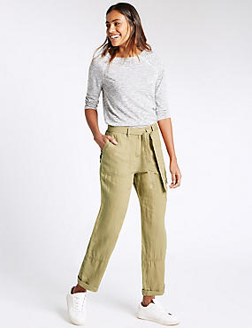 Pure Linen Straight Leg Trousers, DARK CARAMEL, catlanding