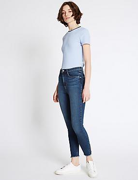 Eng geschnittene Jeans mit mittelhohem Bund und ausgefranstem Saum, BLAU GETÖNT, catlanding