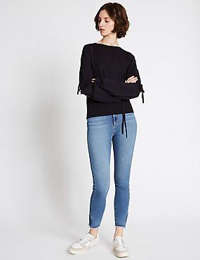 Frayed Hem Mid Rise Skinny Leg Jeans, MEDIUM INDIGO, catlanding