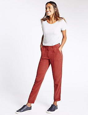 Patch Pocket Turn Up Tapered Leg Trousers, RUST, catlanding