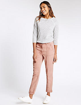 Patch Pocket Turn Up Tapered Leg Trousers, , catlanding