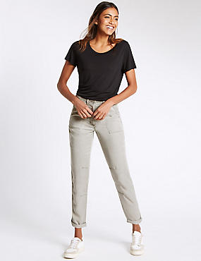 Patch Pocket Turn Up Tapered Leg Trousers, LIGHT GREY, catlanding
