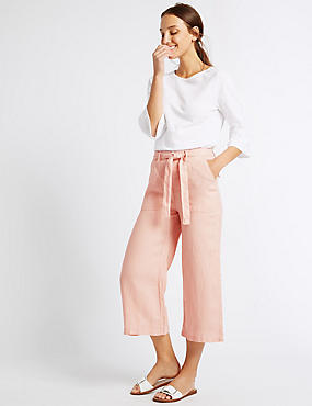 Pure Linen Cropped Trousers, PALE PINK, catlanding