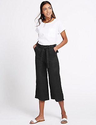 Pure Linen Cropped Trousers, BLACK, catlanding