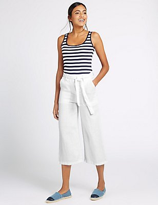 Pure Linen Cropped Trousers, WHITE, catlanding