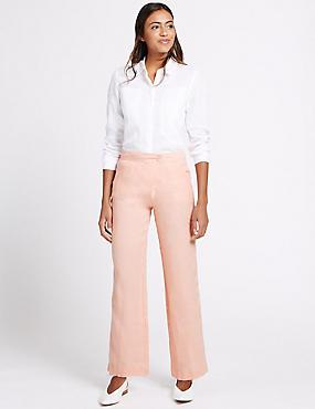 Pure Linen Wrap Wide Leg Trousers, PINK, catlanding