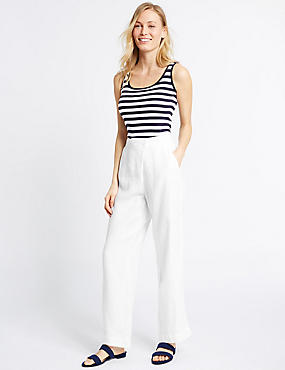 Pure Linen Wrap Wide Leg Trousers, WHITE, catlanding