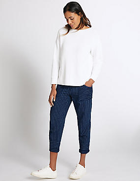 Pure Cotton Striped Combat Cropped Trousers, NAVY MIX, catlanding