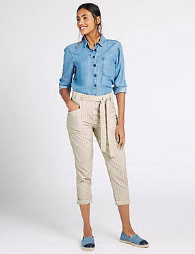 Pure Cotton Striped Combat Cropped Trousers, NEUTRAL, catlanding
