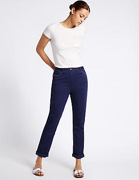 Cotton Rich Bling Straight Leg Trousers, NAVY, catlanding