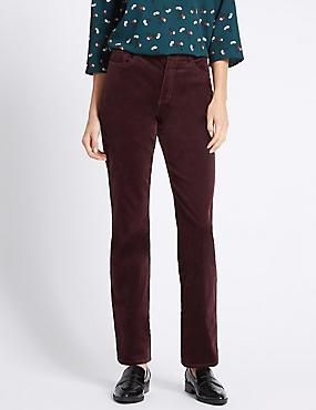 Cotton Rich Straight Leg Trousers, PLUM, catlanding