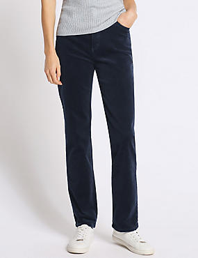 Cotton Rich Straight Leg Trousers, NAVY, catlanding
