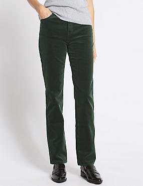Cotton Rich Straight Leg Trousers, KHAKI, catlanding